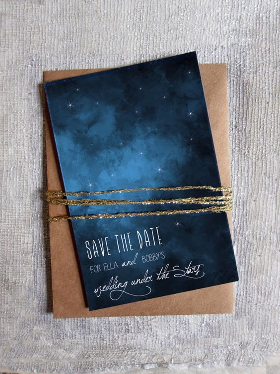 watercolor starry sky save the date with copper envelopes