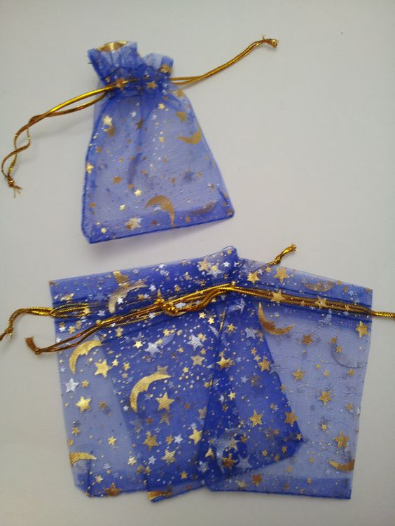 blue moon and stars organza favor bags