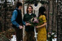 31 boho mustard lace applique short sleeve wedding dress for a woodland bride