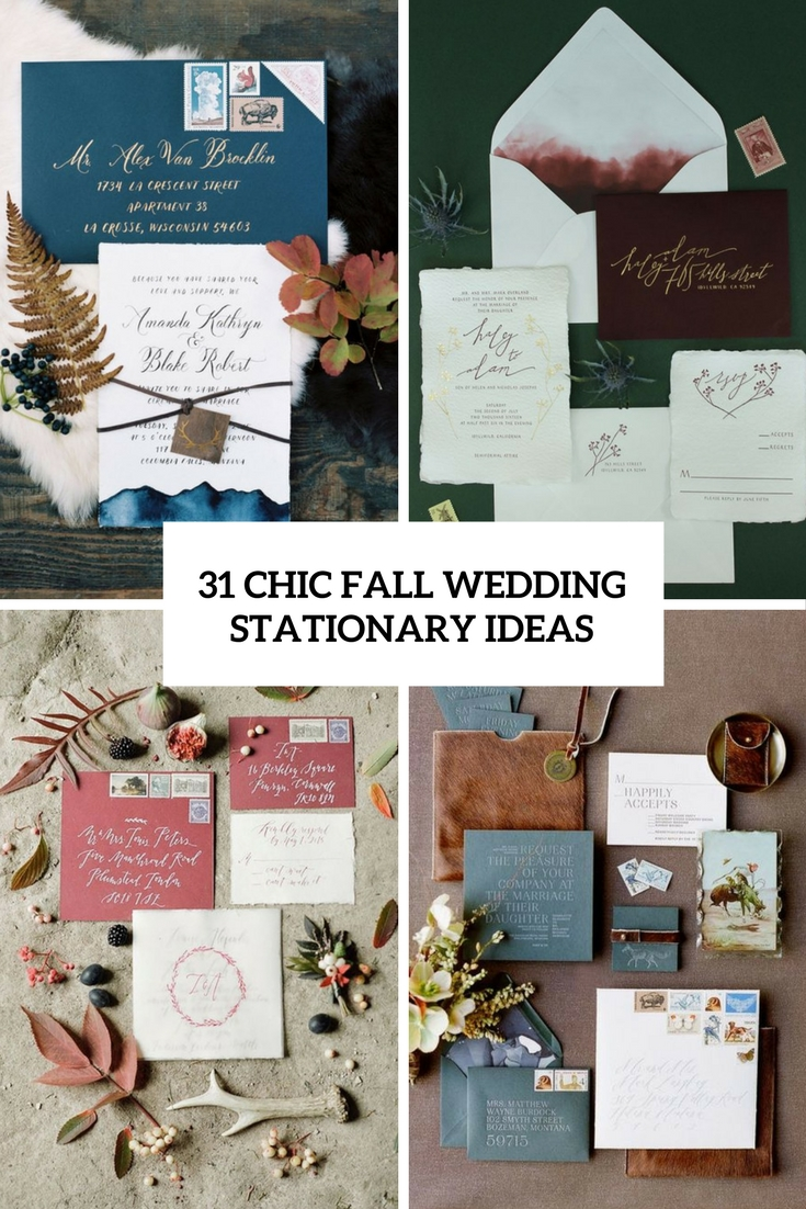 chic fall wedding stationary ideas cover