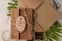 31 kraft paper and real wood wedding invites for a woodland wedding