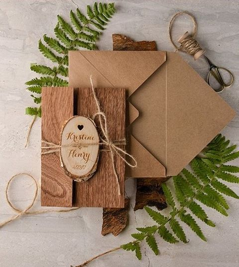 kraft paper and real wood wedding invites for a woodland wedding