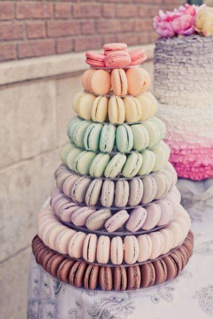 rainbow macaron wedding tower looks cool and tastes amazing