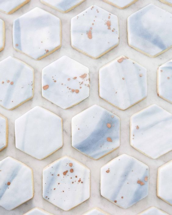 sugar cookies iced with marbled fondant resembled Italian tiles