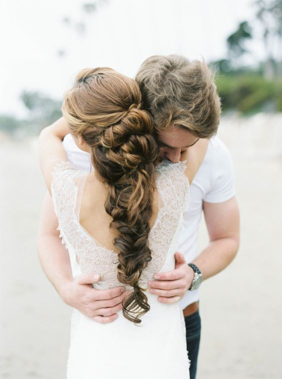 long braided wedding hair with a volume and no accessories
