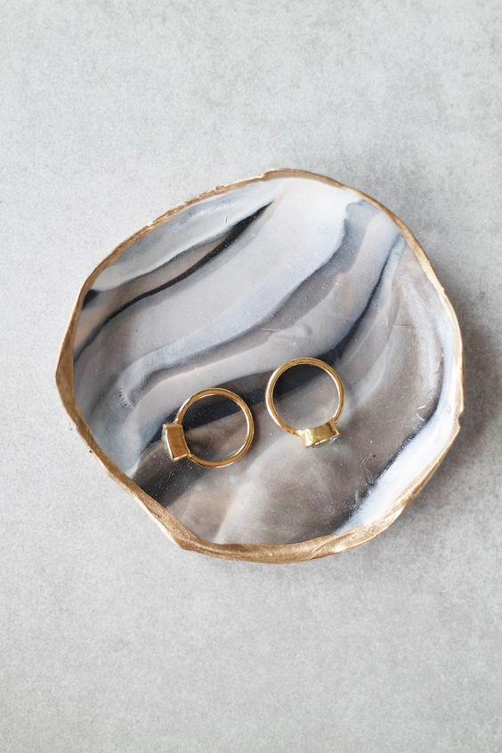 marble clay ring dish with a gold edge
