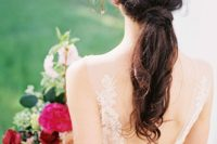 35 wedding ponytail with wavy tips and no accessories
