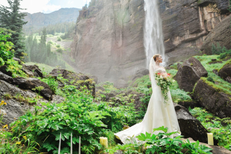 This couple chose one of the most gorgeous Colorado places to tie the knot, it was Telluride Waterfall