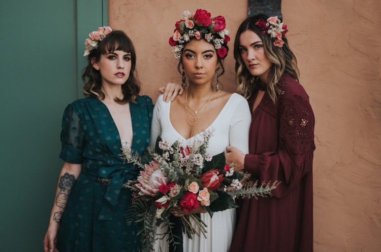 This wedding shoot was inspired by famous painter Frida Kahlo, her art and life and the muted tones of the desert