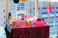 02 a bold drink bar in black and pink with glitter letters for a fun bachelorette party
