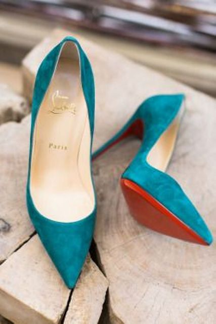 teal wedding heels will be a stylish colorful touch