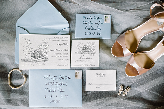 Blue wedding stationary and bridal accessories - pearl earrings and a bracelet and pink shoes