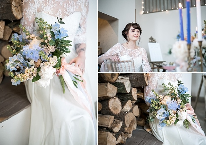 The shoot was filled with soft blue touches, boho and rustic details that mad eit so special