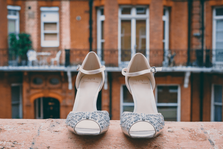 These are wedding shoes, sparkling ones and with an ankle strap