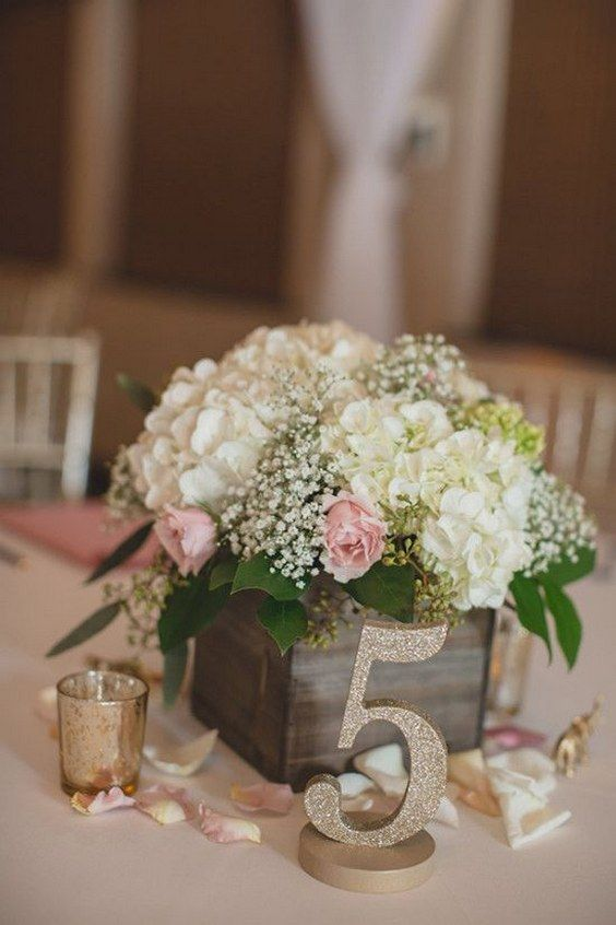 Picture Of A Reclaimed Wooden Box With Baby S Breath Hydrangeas And Roses Glitter Table Number For Rustic Wedding Centerpiece