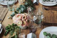 04 greenery runners, pink flower centerpieces and candles with no tablecloth