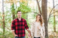 04 the looks are coordinated with the same print and jeans, plaid is great for fall