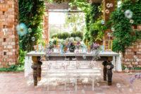 bright wedding tablescape