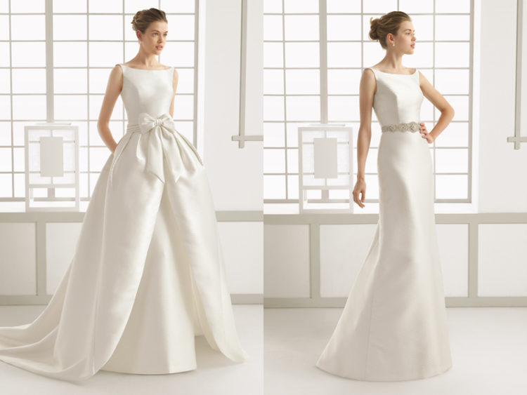 26 beautiful convertible wedding dresses weddingomania a modern plain wedding dress with a bateau neckline and a full overskirt of the same junglespirit Image collections