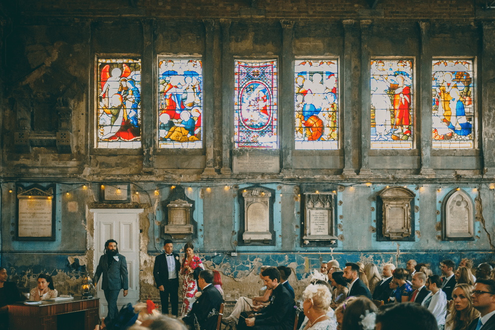 This antique chapel was a perfect fit for this unusual couple and their no less unusual guests