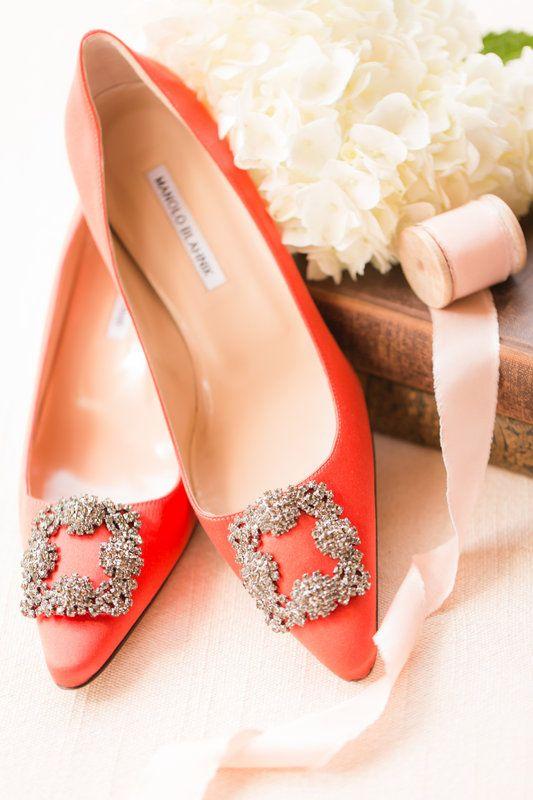 orange Manolo Blahnik wedding shoes for a stylish bride
