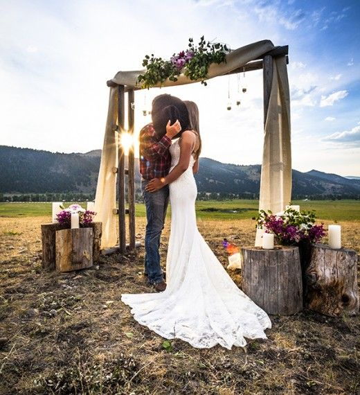 Rustic Wedding Arch With Burlap: Picture Of Ranch Wedding Ceremony Space With A Wooden Arch