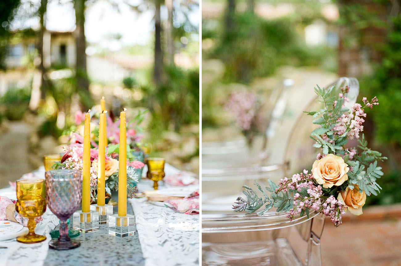The chairs were decorated with orange and pink blooms