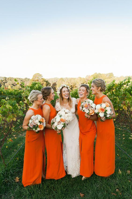 Orange Wedding Dresses 95 Good sleeveless halter neckline maxi