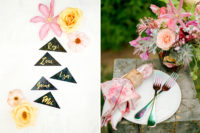 08 Many chic and colorful details like watercolor pink napkins are worth pinning