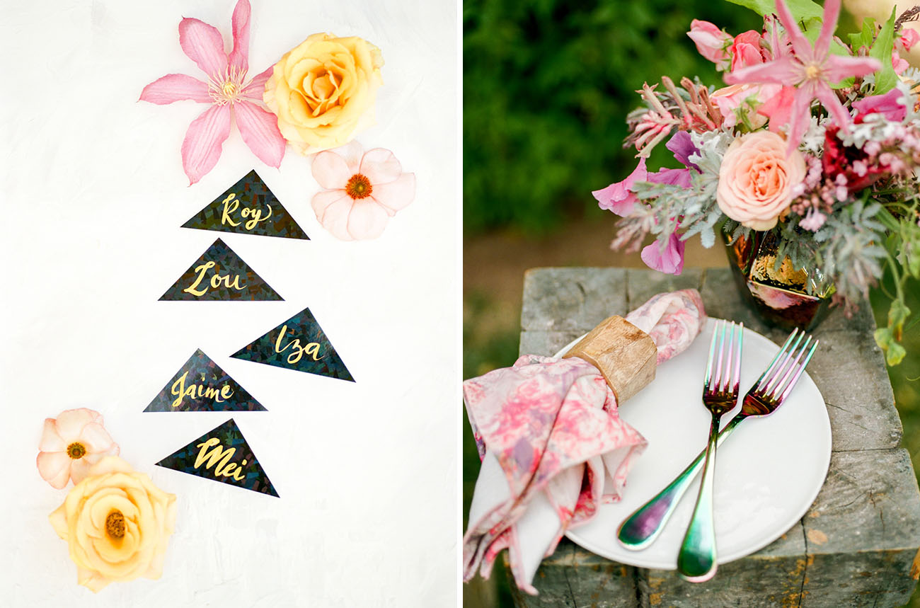 Many chic and colorful details like watercolor pink napkins are worth pinning