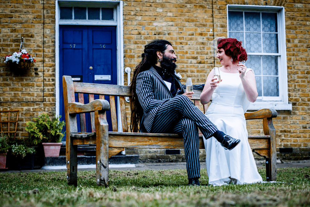 One of the parts of the wedding was a picnic in a park