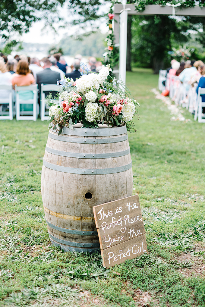 wine barrel wedding display