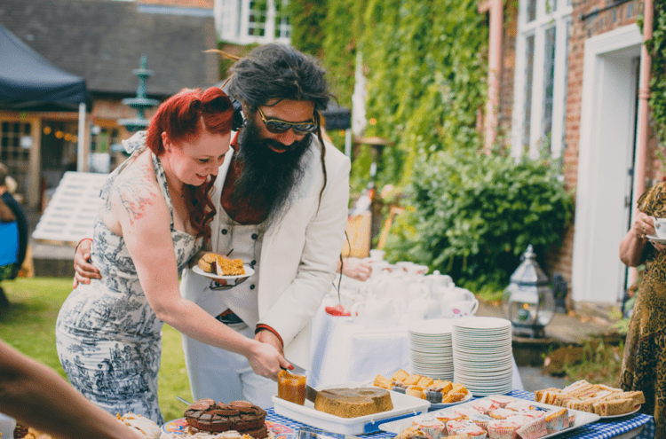 A vintage-inspired tea party was another part of the wedding
