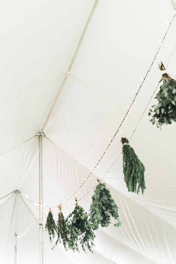 Hanging herbs inside the tent is a very summer-like touch