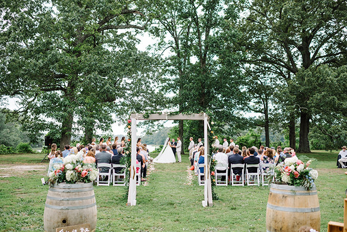 The ceremony space on the creek looked beautiful and homey