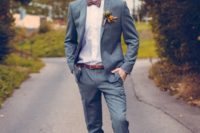 09 a grey two piece wedding suit with a plum bow tie and copper accessories