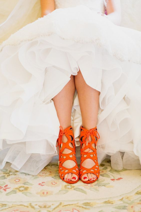bold orange laser cut wedding shoes with lacing up