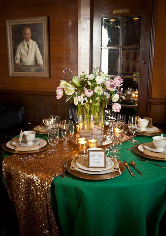 Picture Of A Gold Table Runner Over An Emerald Tablecloth For Glam Fall Wedding