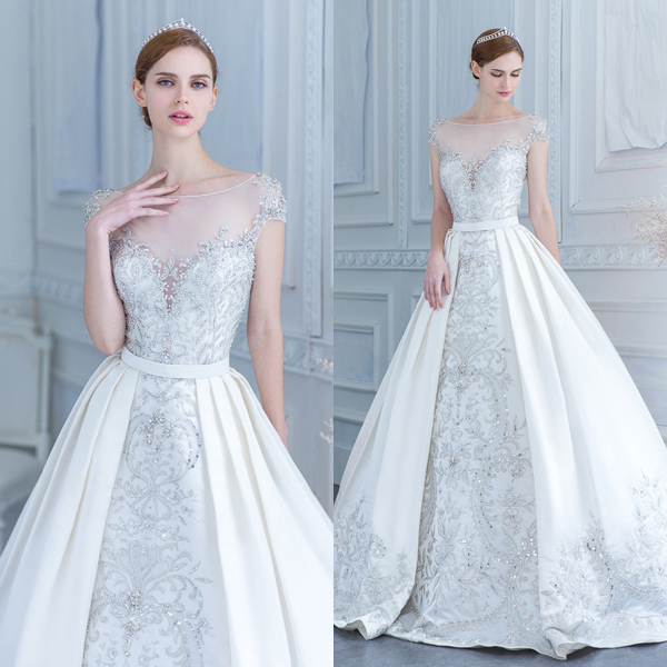 Beaded A Line Silver Wedding Dress With An Illusion Neckline And Overskirt For More