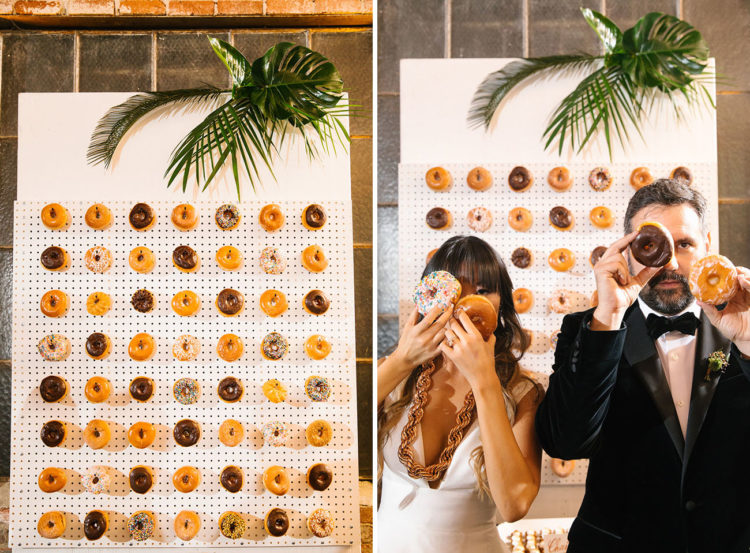 A donut wall is a hot trend for weddings, and these two couldn't forget about it