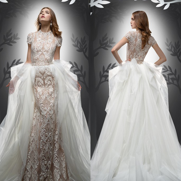 beautiful sheath lace dress with short sleeves and a tulle overskirt