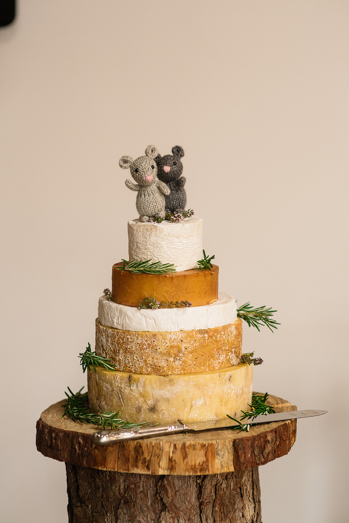 Instead of a wedding cake they served a cheese tower of their favorite cheese types