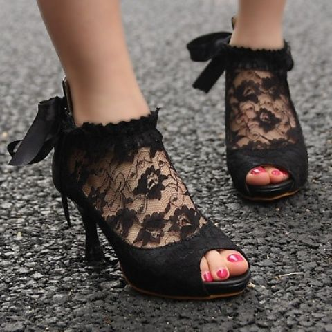 vintage-inspired black lace peep toe wedding booties with ribbon bows
