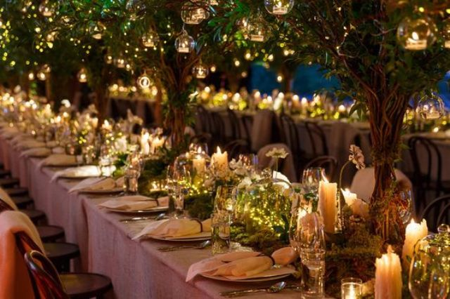 Picture Of Fairytale Inspired Wedding Reception With Trees
