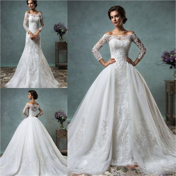 off the shoulder long sleeve mermaid wedding dress plus a gorgeous embroidered tulle overskirt that turns it into a ballgown