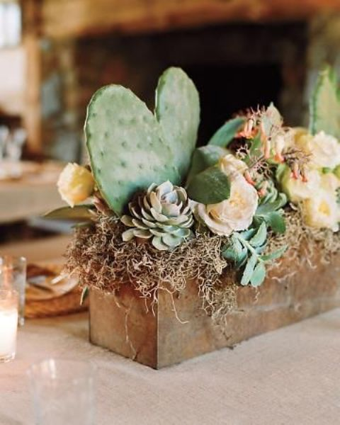 a metal box with succulents and cacti is great for a desert wedding