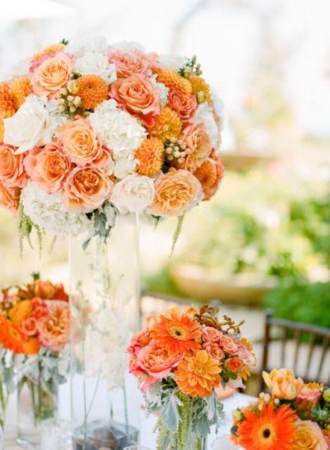 peachy, orange and creamy flower arrangement for a bold wedding