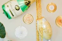 18 colorful balloons – champagne and a glass – can be a nice and fun idea for a bachelortte party