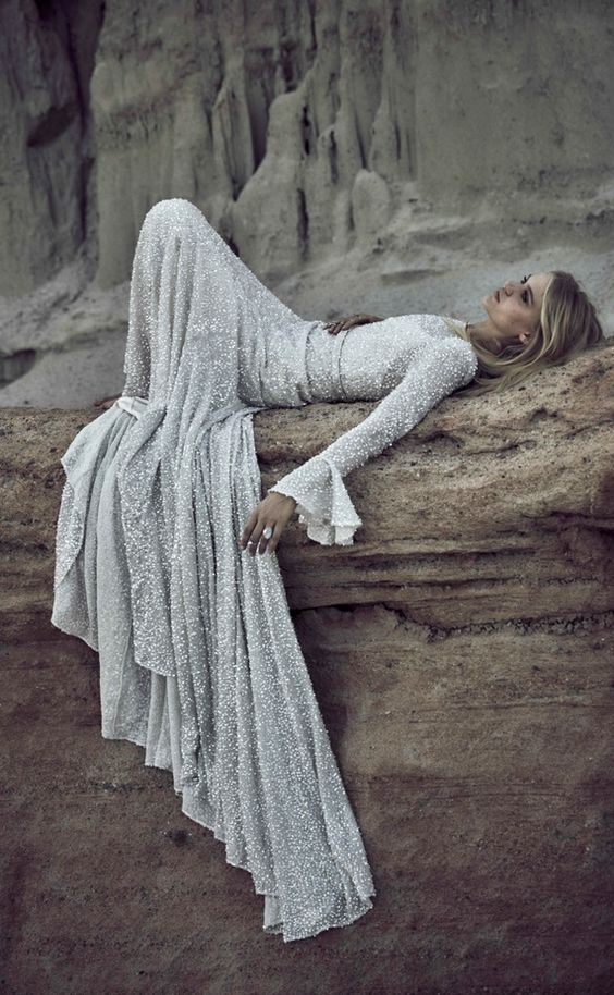 silver sequin wedding dress with long bell sleeves will help you sparkle all day and night long