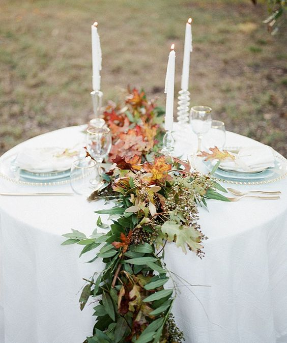 Picture Of Fresh Greenery And Fall Leaves Table Runner For Beautiful